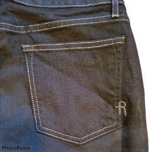 RICH & SKINNY Snakeskin Waxed Jeans (Size 28)